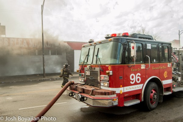 Chicago fire truck at fire scene