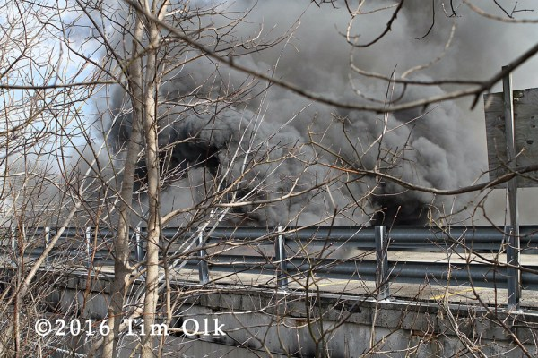 heavy smoke from commercial fire