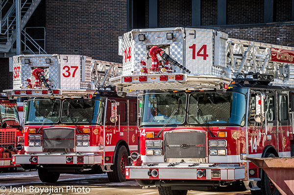 New E-ONE tower ladders for the Chicago Fire Department.