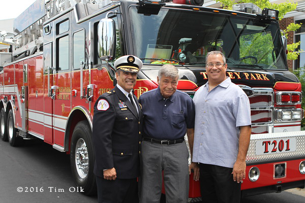 Tinley Park Fire Chief Kenneth Dunn with Chicago Fire Commissioner Jose Santiago and Steve Klotz