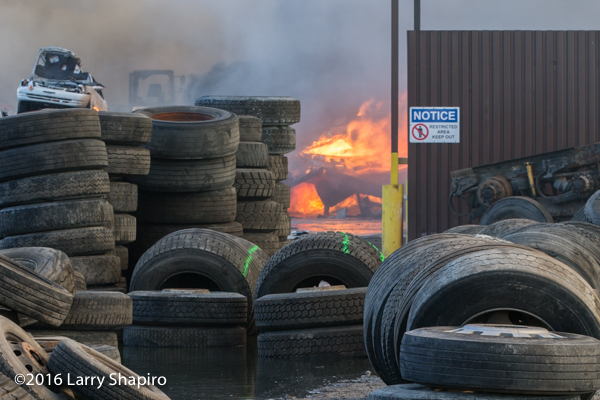 fire in a salvage yard