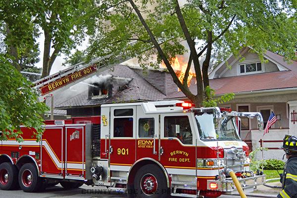 Berwyn fire truck at fire scene