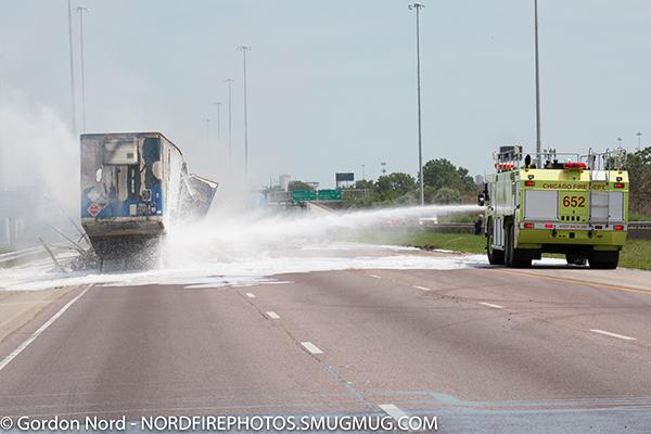 CFD airport crash truck at semi crash on a highway