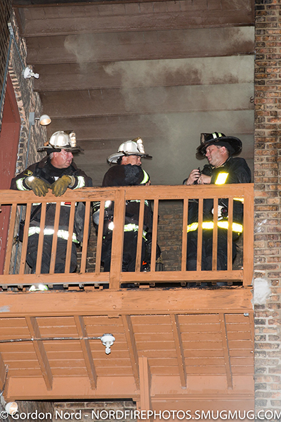 Chicago firefighters on back porch