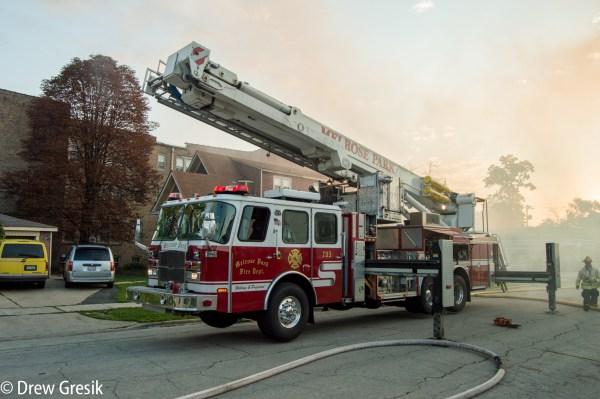 E-ONE Bronto Skylift at fire scene