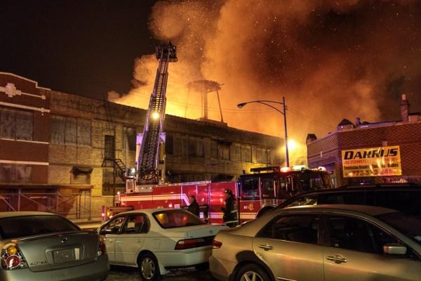 massive warehouse fire in Chicago