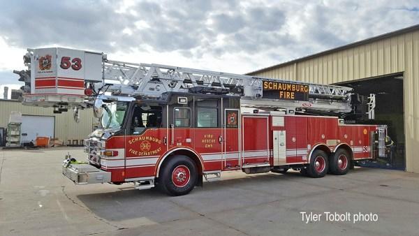 2016 Pierce Velocity aluminum tower ladder for Schaumburg FD Truck 53
