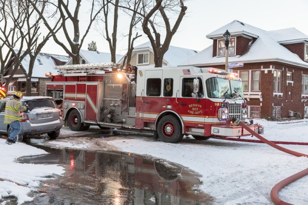 Berwyn FD fire engine at a fire sene