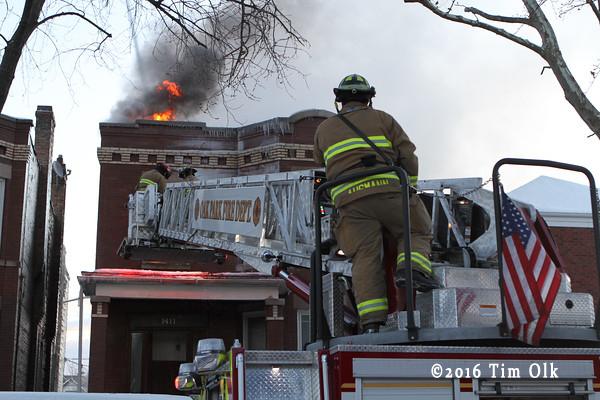 Oak Park FD tower ladder at fire scene