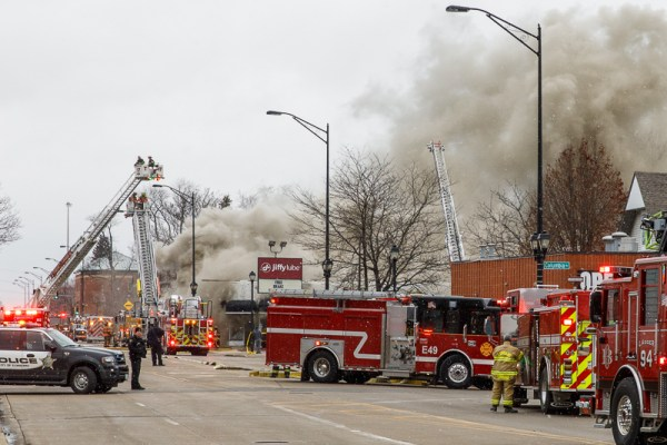 fire trucks at commercial fire scene