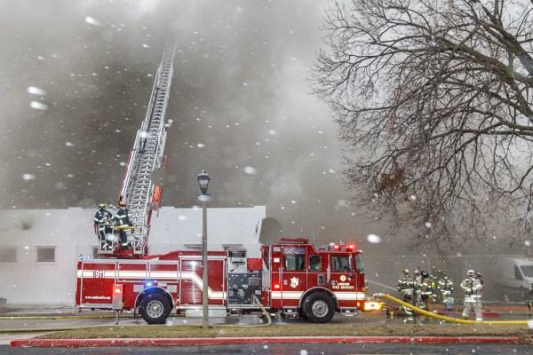 Addison fire truck at fire scene
