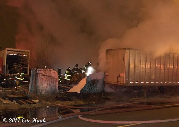 truck yard fire at night