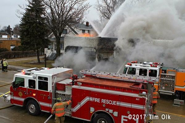 Elmhurst fire trucks at fire scene
