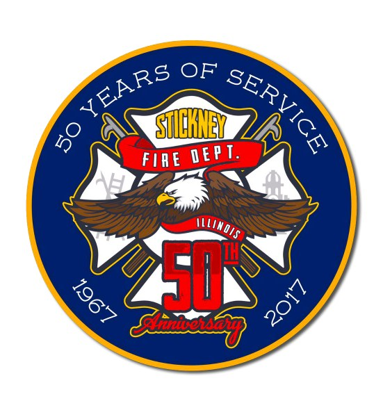 Stickney Fire Department 50th Anniversary decal
