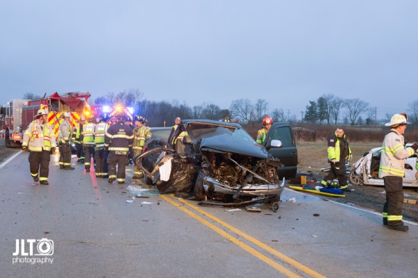 aftermath of fatal car crash in West Chicago IL