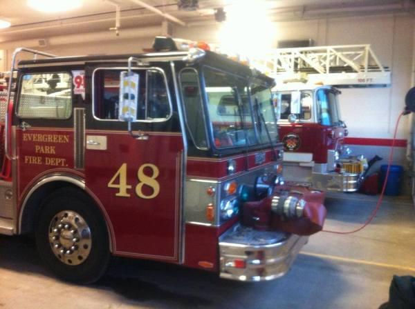 fire trucks in fire station