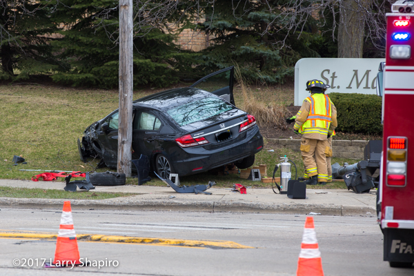 car against pole after crash