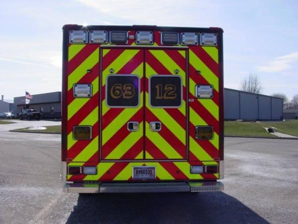 chevron striping on rear of ambulance