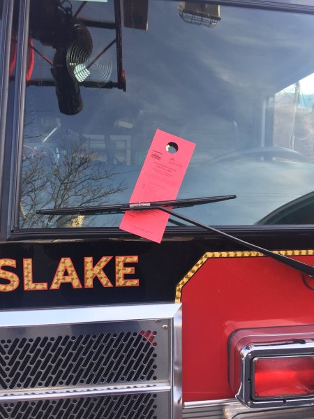 parking ticket on fire engine