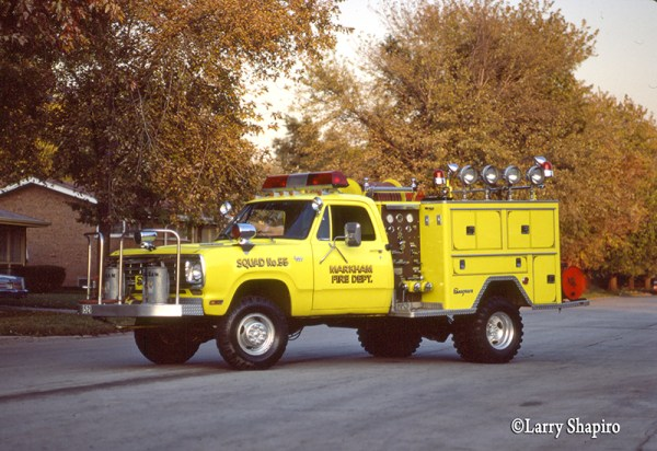 vintage photo of Markham Fire Department (IL) Squad 55 in the original color built by Seagrave on a Dodge chassis