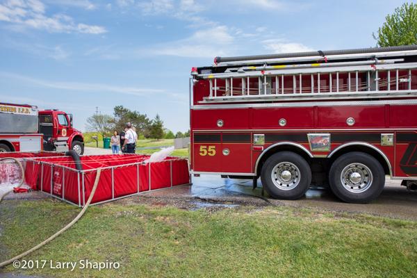 Long Grove FPD Tanker 55 dumping into a portable tank