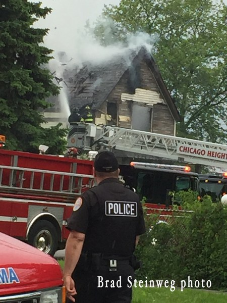 house fire scene in Chicago Heights IL