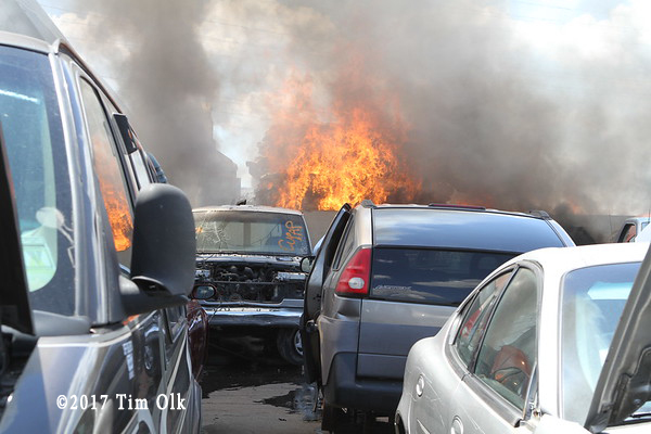 fire in a junk yard