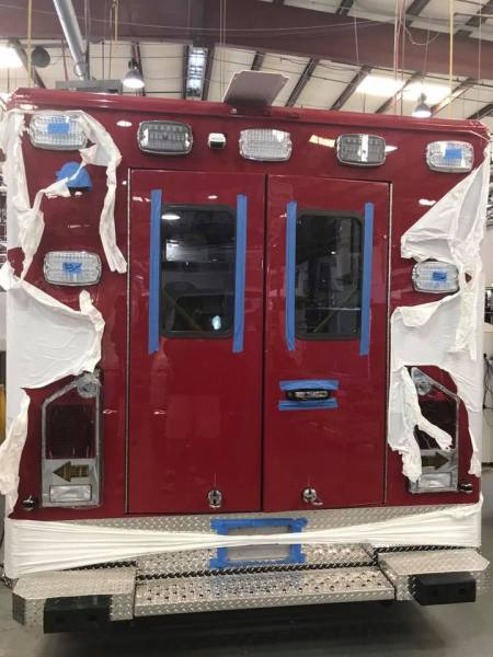 rear of ambulance being built