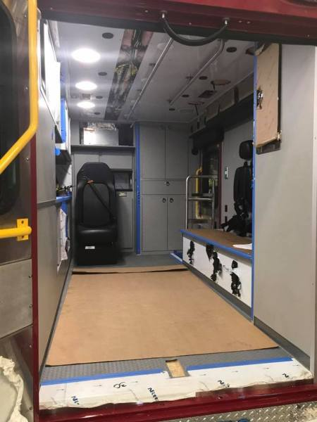 interior of ambulance being built