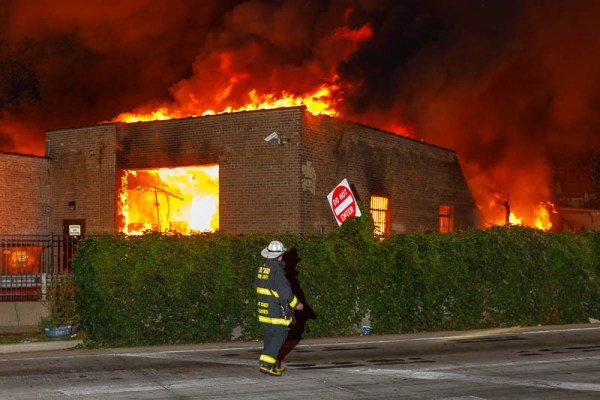 fire chief at massive building fire