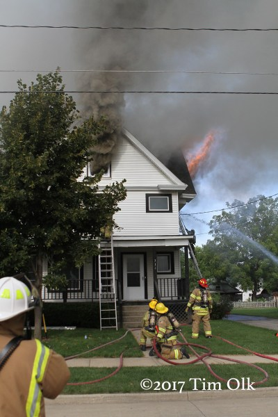 heavy smoke from attic during a house fire