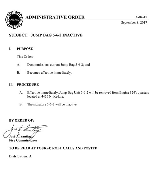 Chicago FD Administrative Order A-04-17