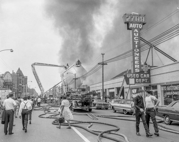 historic fire scene photo in Chicago