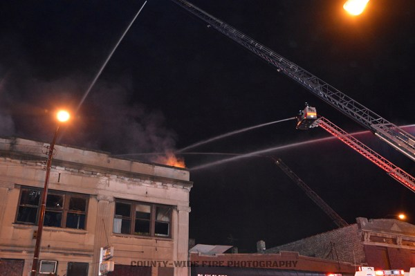 elevated master streams at commercial fire