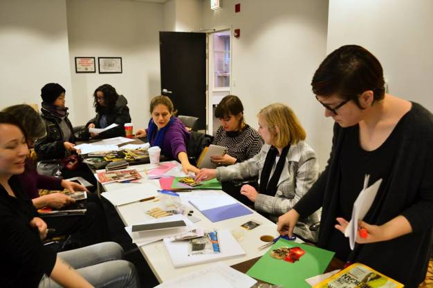 Alison Savage of Chicago Zine Fest leads a zine-making workshop.