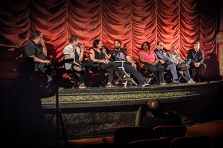 "Steve Prokopy (far left) and Erik Childress (far right) with the cast and crew of ""Operator"""