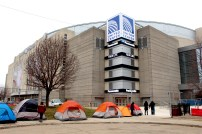The first few tents in line for Twenty One Pilots' United Center show. They arrived Friday evening for the Saturday night show. Photo by Kristin Stahlke.