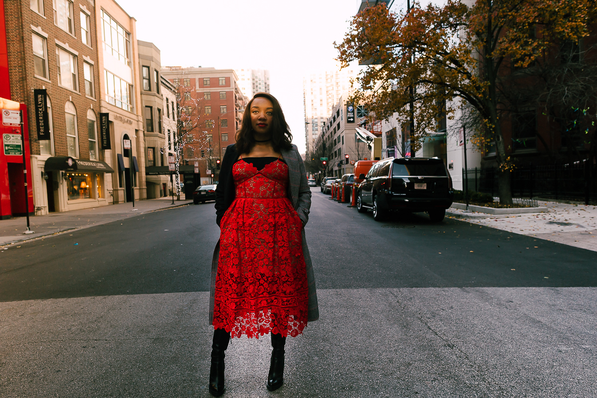 Kari Herrera in front of the Ikram in Chicago