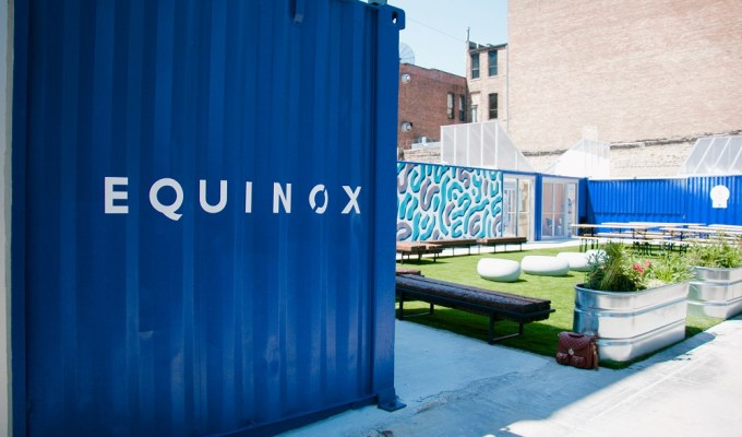 Equinox Chicago Popup inside of shipping containers in the West Loop.