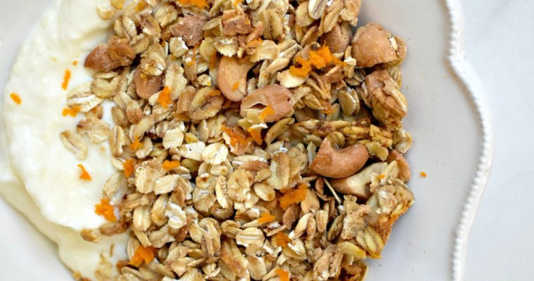 Cashew Butter Granola with Orange Zest
