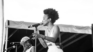 Jamila Woods preforms at the Beach stage