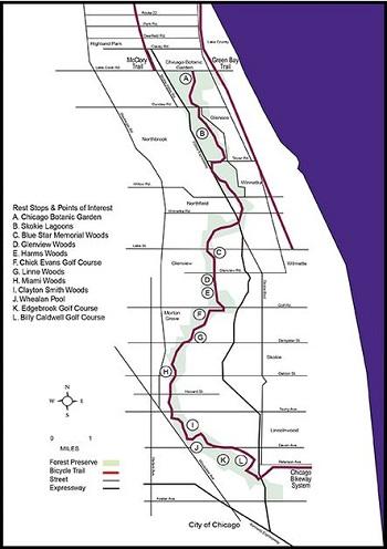 Bike path to Chicago Botanic Garden