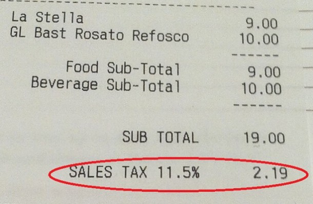 Eataly Sales Tax
