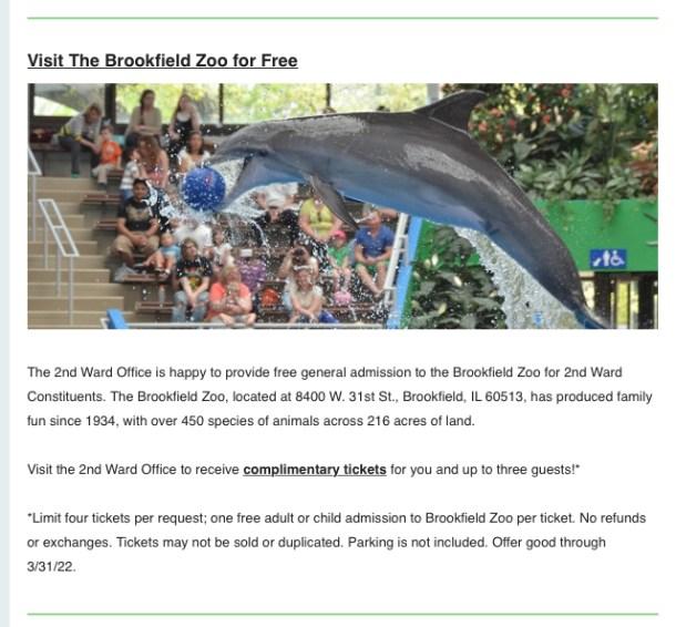 Free Brookfield Zoo tickets 2nd Ward