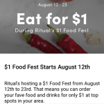 Ritual Eats Week $1 food August 12-23
