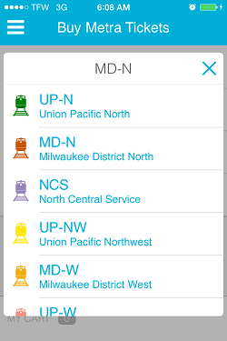Ventra App Metra Ticket screen 4