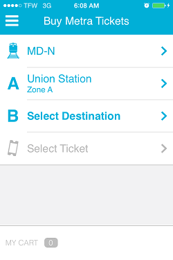 Ventra App Metra Ticket screen 7