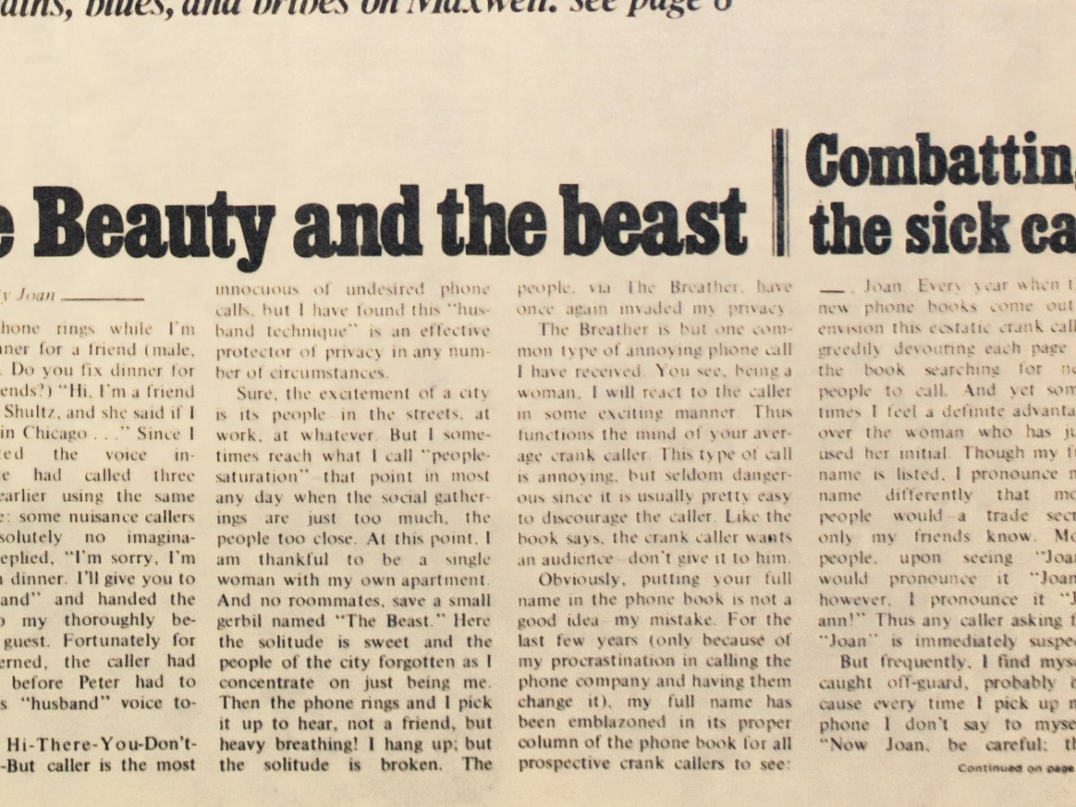 the Beauty and the beast | Combatting the sick call by Joan — (detail of the front page of the first issue of the Chicago Reader, October 1, 1971)