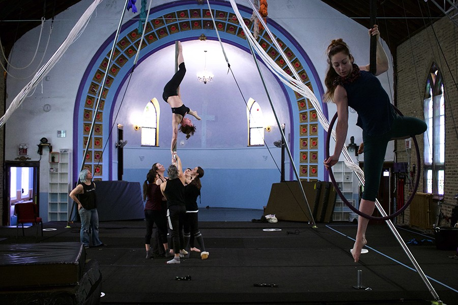 Shayna Swanson, left, at Aloft Circus Arts