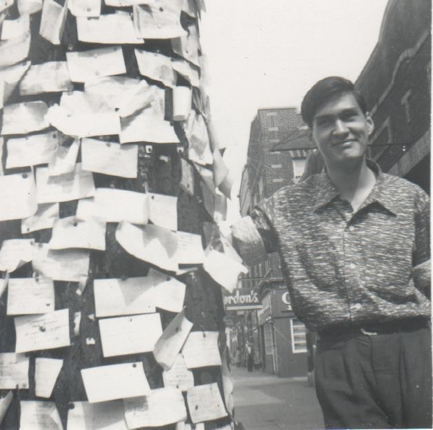 Art Castillo at the Message Tree, which used to stand at West 57th Street and South Kimbark Avenue.